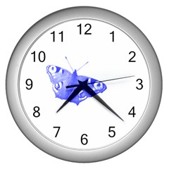 Decorative Blue Butterfly Wall Clock (silver)