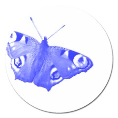 Decorative Blue Butterfly Magnet 5  (round)