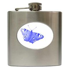 Decorative Blue Butterfly Hip Flask