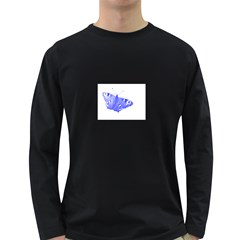 Decorative Blue Butterfly Men s Long Sleeve T-shirt (Dark Colored)