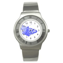 Decorative Blue Butterfly Stainless Steel Watch (Slim)