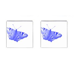Decorative Blue Butterfly Cufflinks (square)