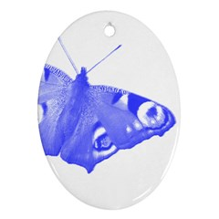 Decorative Blue Butterfly Oval Ornament (Two Sides)