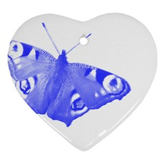 Decorative Blue Butterfly Heart Ornament (Two Sides)