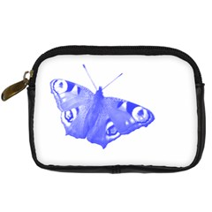 Decorative Blue Butterfly Digital Camera Leather Case
