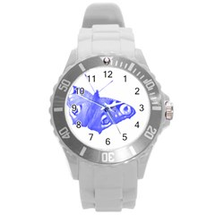 Decorative Blue Butterfly Plastic Sport Watch (Large)