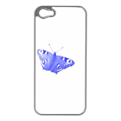 Decorative Blue Butterfly Apple Iphone 5 Case (silver)