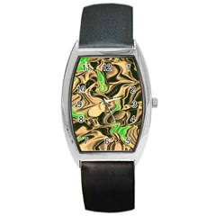 Retro Swirl Tonneau Leather Watch