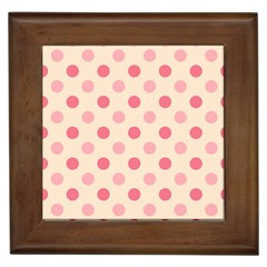 Pale Pink Polka Dots Framed Ceramic Tile