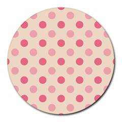 Pale Pink Polka Dots 8  Mouse Pad (round)