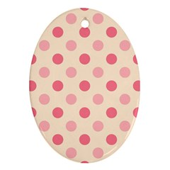 Pale Pink Polka Dots Oval Ornament
