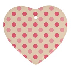 Pale Pink Polka Dots Heart Ornament