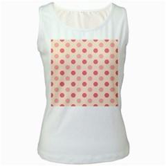 Pale Pink Polka Dots Women s Tank Top (White)