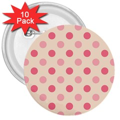 Pale Pink Polka Dots 3  Button (10 Pack)