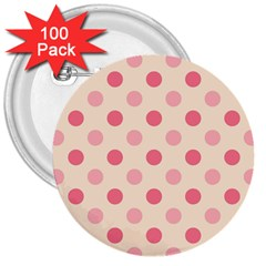 Pale Pink Polka Dots 3  Button (100 pack)