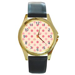 Pale Pink Polka Dots Round Leather Watch (Gold Rim)