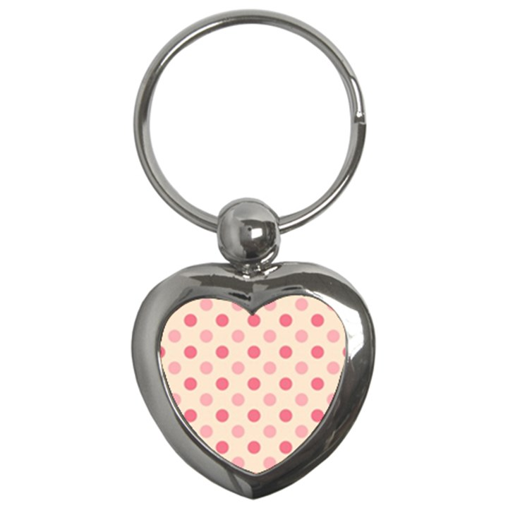 Pale Pink Polka Dots Key Chain (Heart)