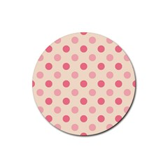 Pale Pink Polka Dots Drink Coasters 4 Pack (Round)