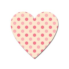 Pale Pink Polka Dots Magnet (Heart)