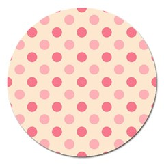 Pale Pink Polka Dots Magnet 5  (Round)