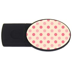 Pale Pink Polka Dots 1GB USB Flash Drive (Oval)