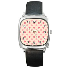 Pale Pink Polka Dots Square Leather Watch