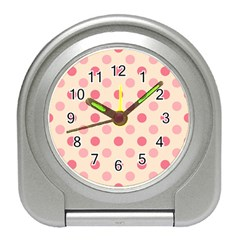 Pale Pink Polka Dots Desk Alarm Clock