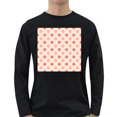 Pale Pink Polka Dots Men s Long Sleeve T Shirt (dark Colored)