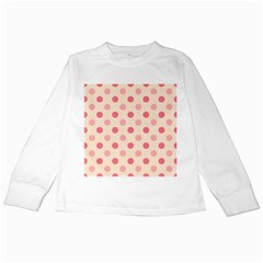 Pale Pink Polka Dots Kids Long Sleeve T-Shirt