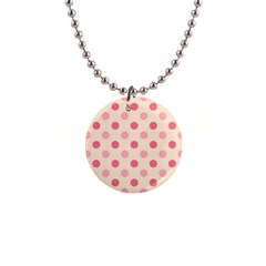 Pale Pink Polka Dots Button Necklace