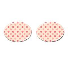 Pale Pink Polka Dots Cufflinks (Oval)