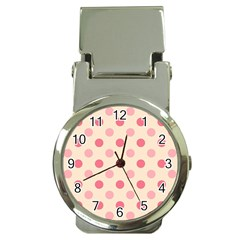 Pale Pink Polka Dots Money Clip with Watch