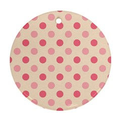Pale Pink Polka Dots Round Ornament (Two Sides)
