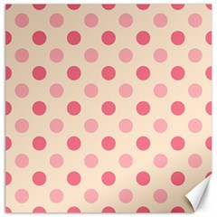 Pale Pink Polka Dots Canvas 12  x 12  (Unframed)