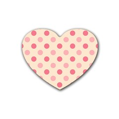 Pale Pink Polka Dots Drink Coasters 4 Pack (Heart)