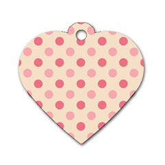 Pale Pink Polka Dots Dog Tag Heart (One Sided)