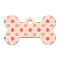 Pale Pink Polka Dots Dog Tag Bone (One Sided)
