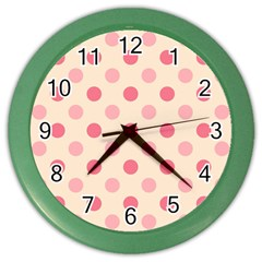 Pale Pink Polka Dots Wall Clock (color)