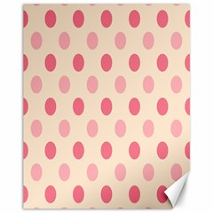 Pale Pink Polka Dots Canvas 11  X 14  (unframed)