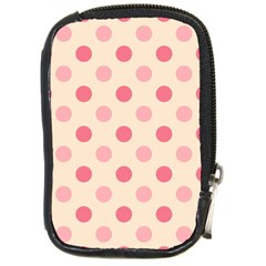 Pale Pink Polka Dots Compact Camera Leather Case
