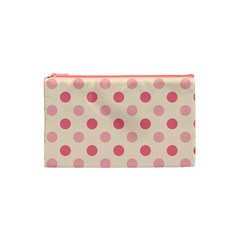 Pale Pink Polka Dots Cosmetic Bag (small)