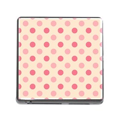 Pale Pink Polka Dots Memory Card Reader with Storage (Square)