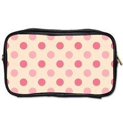 Pale Pink Polka Dots Travel Toiletry Bag (one Side)