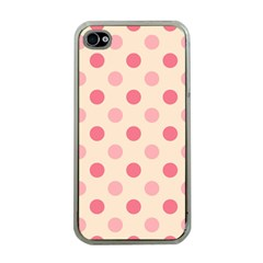 Pale Pink Polka Dots Apple iPhone 4 Case (Clear)