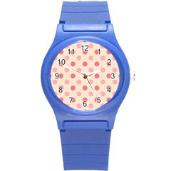 Pale Pink Polka Dots Plastic Sport Watch (small)