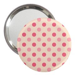 Pale Pink Polka Dots 3  Handbag Mirror