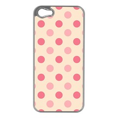Pale Pink Polka Dots Apple iPhone 5 Case (Silver)