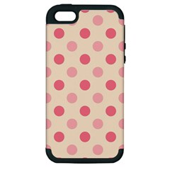 Pale Pink Polka Dots Apple Iphone 5 Hardshell Case (pc+silicone)