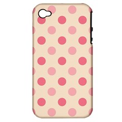 Pale Pink Polka Dots Apple Iphone 4/4s Hardshell Case (pc+silicone)