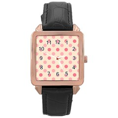 Pale Pink Polka Dots Rose Gold Leather Watch